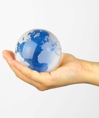globe in palm