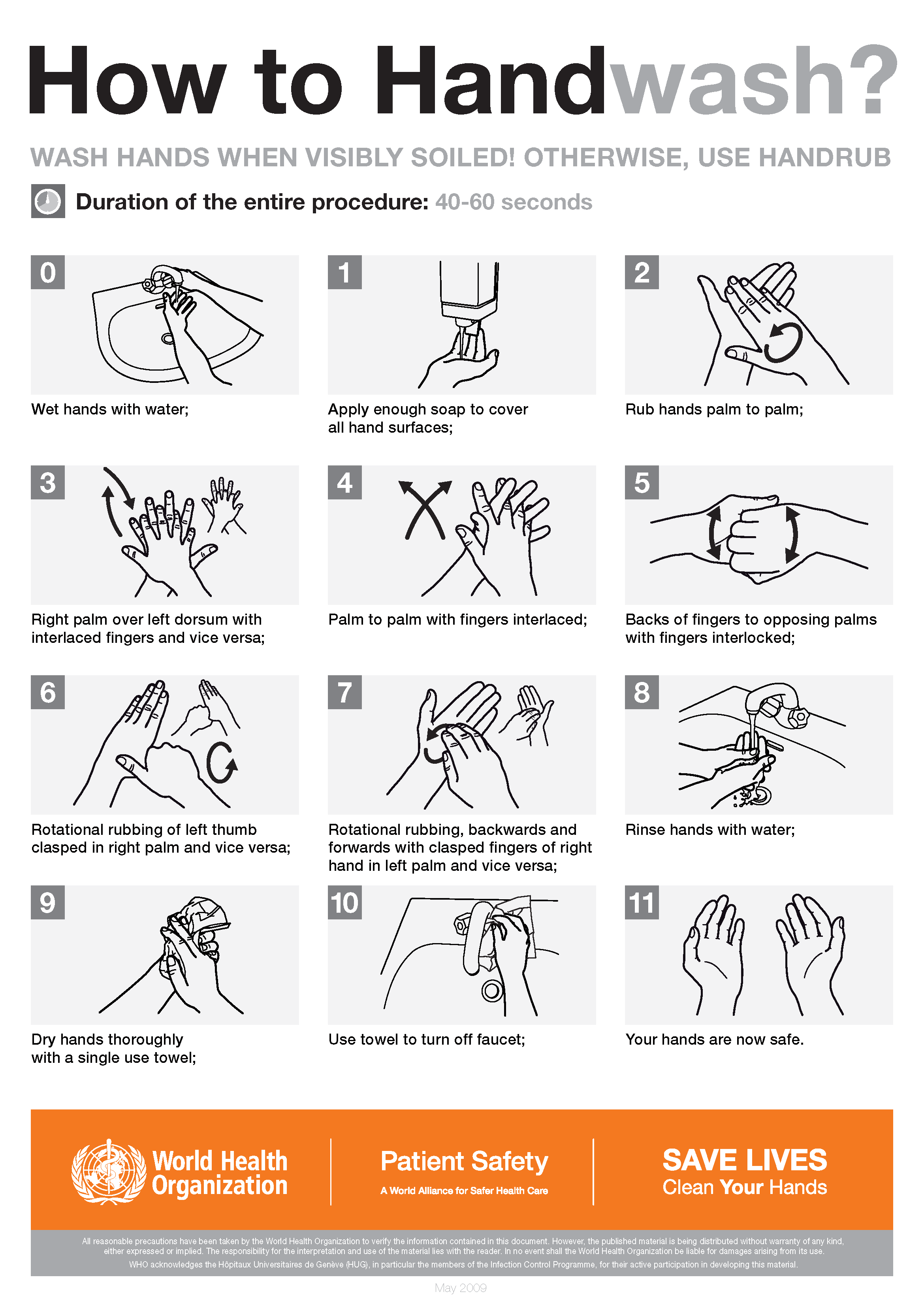 Guide to washing your hands by the World Health Organization