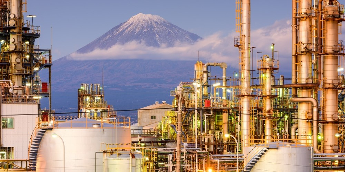 Mt. Fuji, Japan viewed from behind factories..jpeg