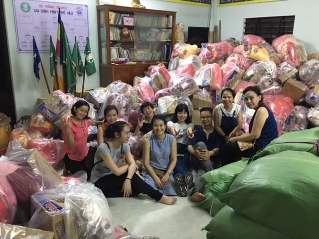 TRG members helped to sort the gifts on the first day in Hue