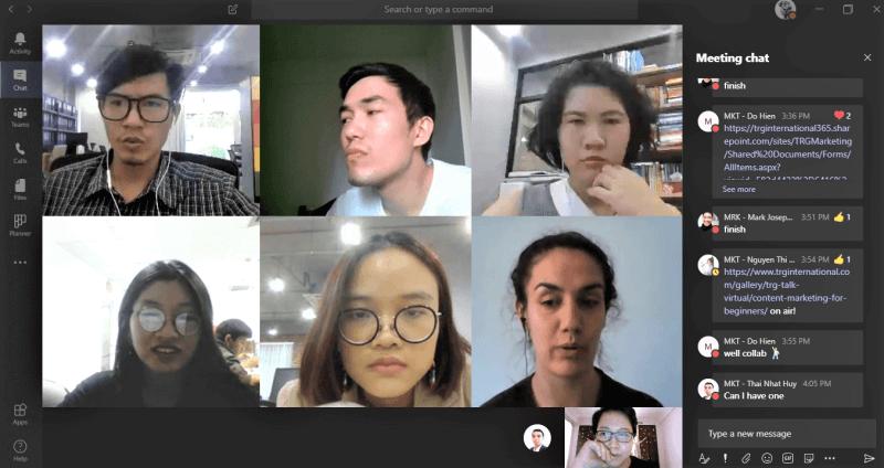 TRG Marketing team's daily check-in via Microsoft Teams