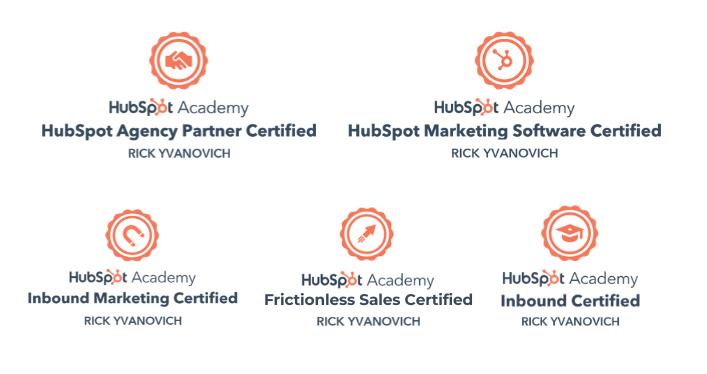 Rick Yvanovich Hubspot certificates