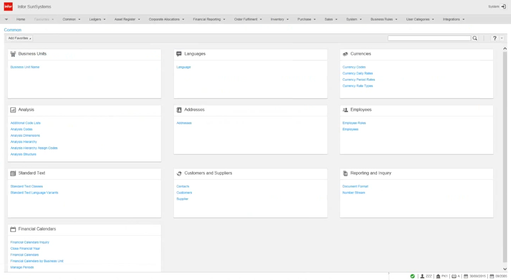 An interface of the current release SunSystems 6.2