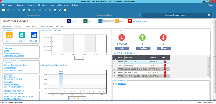 Infor CloudSuite Industrial for Customer Service Managers