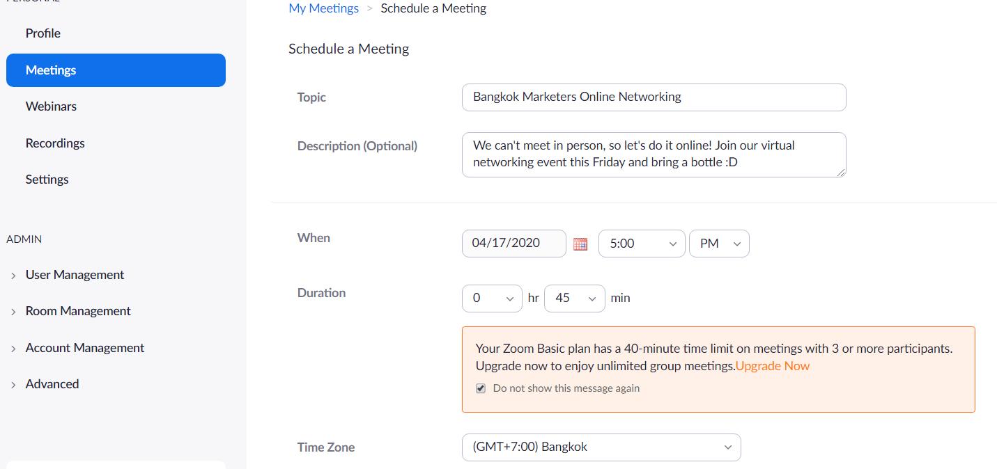 zoom schedule